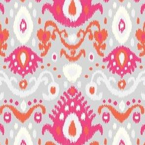Pink Coral and Gray Ikat