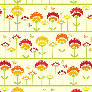 Cute retro flower garden ir orange