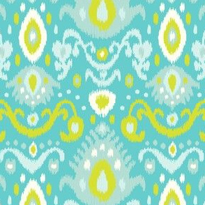 Turquoise and Lime Ikat