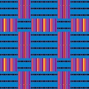 Belt Buckles and Rainbow Stripes on Blue