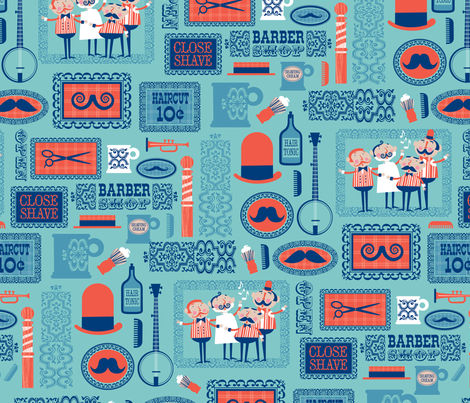 Barber Shop (blue) fabric by edward_elementary on Spoonflower - custom fabric