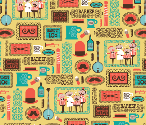 Barber Shop (mustard) fabric by edmillerdesign on Spoonflower - custom fabric