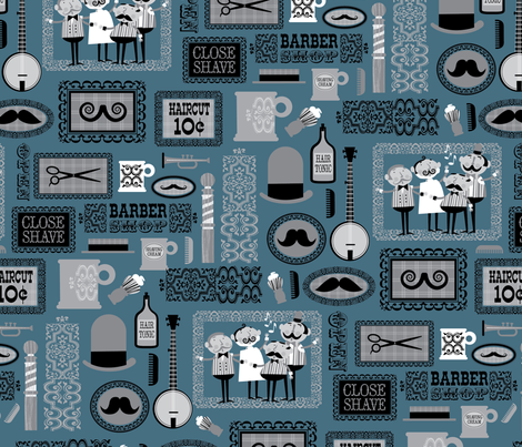 Barber  Shop (blue gray) fabric by edmillerdesign on Spoonflower - custom fabric