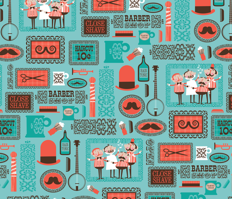 Barber Shop (aqua) fabric by edward_elementary on Spoonflower - custom fabric