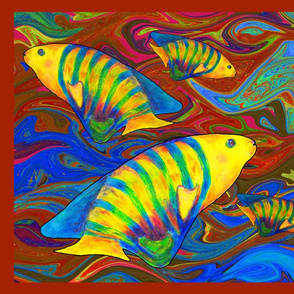 FISHES WAVES GOLD BROWN Pillow Panel
