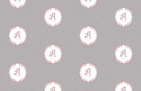 Laurel Custom Monogram in Cashmere and Pink fabric by sparrowsong on Spoonflower - custom fabric