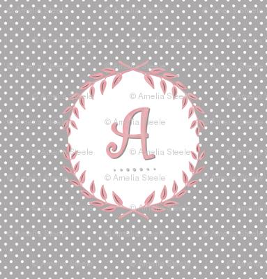 Laurel Custom Monogram in Cashmere and Pink