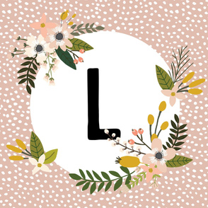 Blush Sprigs and Blooms Monogram Blanket // L
