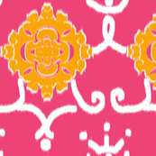 Ikat Blossoms (in Tangerine)