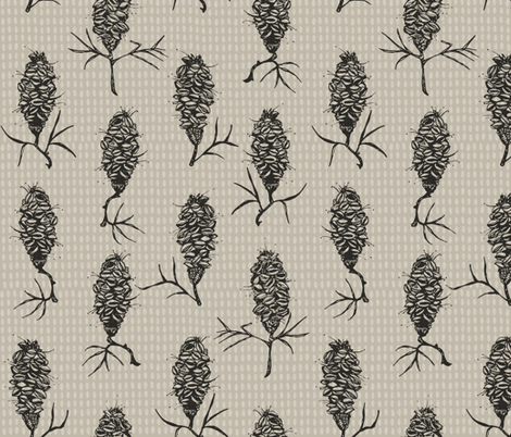 Banksia on grey fabric by mulberry_tree on Spoonflower - custom fabric