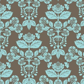 Modern Damask with Bees in coco and aqua-02