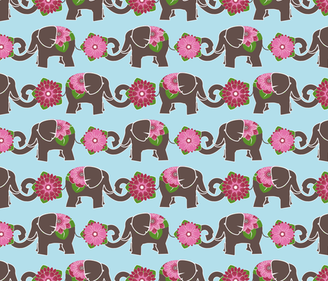 Elephants in my Garden fabric by shellypenko on Spoonflower - custom fabric