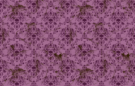 Plum and Orchid Skull Damask Distressed fabric by elizabeth on Spoonflower - custom fabric