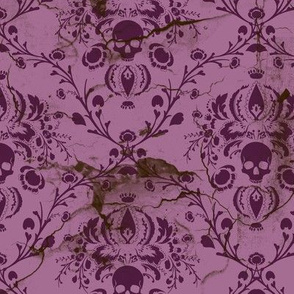 Plum and Orchid Skull Damask Distressed