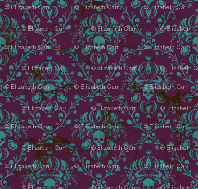 Teal on Plum Damask Distressed