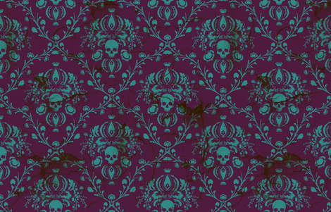 Teal on Plum Damask Distressed fabric by elizabeth on Spoonflower - custom fabric
