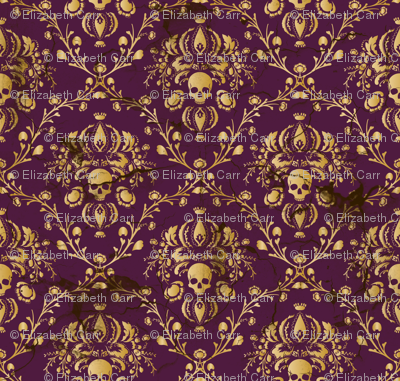 Plum Damask Skull Distressed