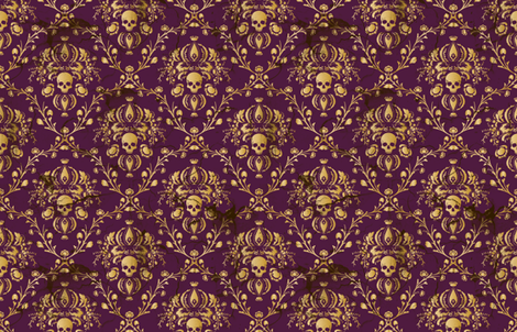 Plum Damask Skull Distressed fabric by elizabeth on Spoonflower - custom fabric