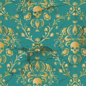 Teal Skull Damask