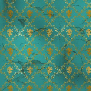 Lion Damask in teal and gold, distressed