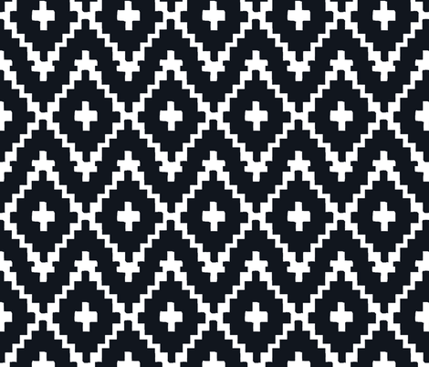 Southwest Diamond Chevron _ White on black fabric by fable_design on Spoonflower - custom fabric
