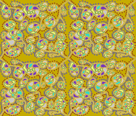 SHELL FLOWER BEACH MOSS GREEN fabric by paysmage on Spoonflower - custom fabric