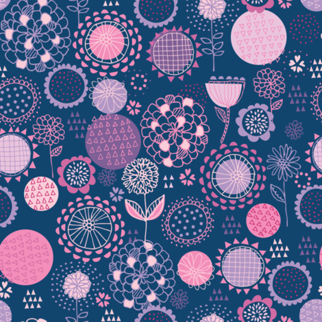 drawing_flowers_navy fabric by stacyiesthsu on Spoonflower - custom fabric