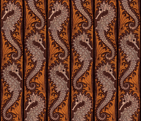Seahorse Stripe Mosaic ~ Chocolate and Shell Pink fabric by peacoquettedesigns on Spoonflower - custom fabric