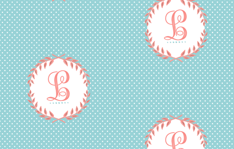 Monogram in Turquoise and Coral  fabric by sparrowsong on Spoonflower - custom fabric