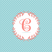 Monogram in Turquoise and Coral