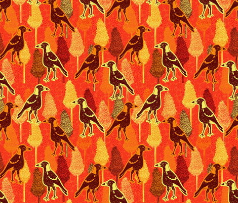 Magpies Strolling Through Red Hot Pokers fabric by rubydoor on Spoonflower - custom fabric