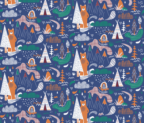A bear camp fabric by demigoutte on Spoonflower - custom fabric
