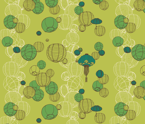 Wedding Lanterns on Green fabric by littlefrogpond on Spoonflower - custom fabric