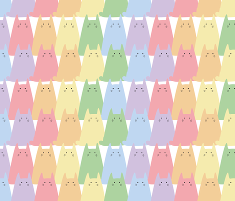 Cat rainbow fabric by buttonmushroom on Spoonflower - custom fabric