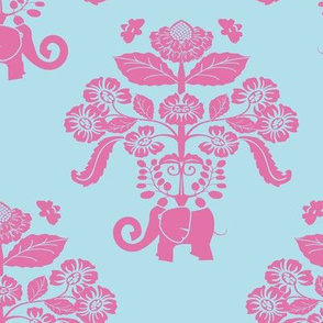 Elephants In My Garden Damask in pink and aqua