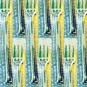 blue green forks