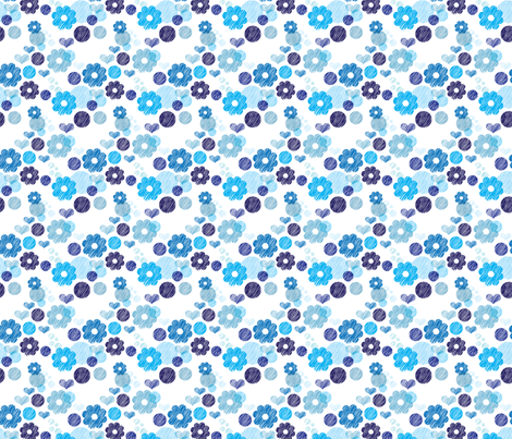 Blue flowers winter garden scandinavian grunge style fabric by littlesmilemakers on Spoonflower - custom fabric