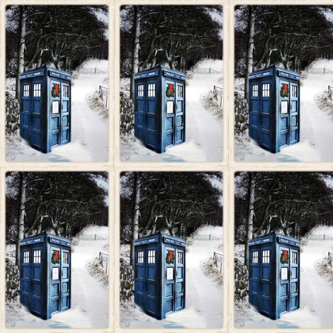 Police Box Winter Scene in the Snow fabric by bohobear on Spoonflower - custom fabric