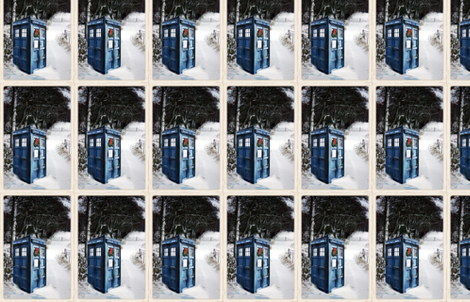 Police Box in the Snow Winter Scene  fabric by bohobear on Spoonflower - custom fabric