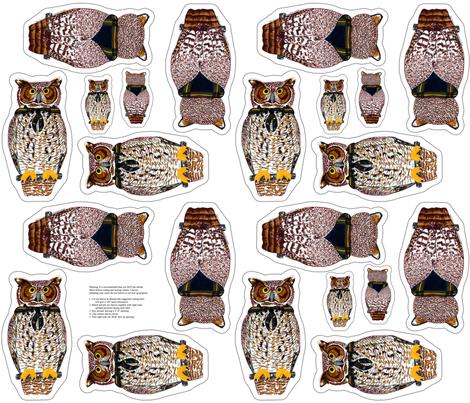 owl plushie yard fabric by evenspor on Spoonflower - custom fabric