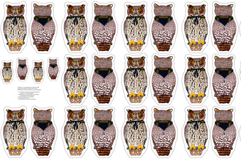 owl plushie yard fabric by evenspor on Spoonflower - custom fabric