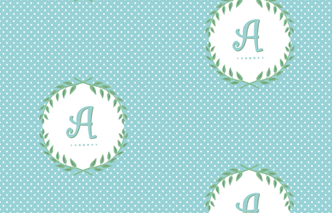 Custom Laurel Monogram in Turquoise and Apple Green fabric by sparrowsong on Spoonflower - custom fabric