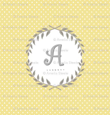 Customizable Sunshine and Cloud Laurel Monogram / Initial