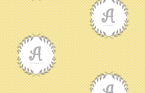 Customizable Sunshine and Cloud Laurel Monogram / Initial fabric by willowlanetextiles on Spoonflower - custom fabric