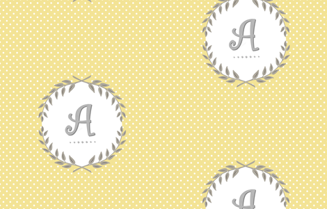 Customizable Sunshine and Cloud Laurel Monogram / Initial fabric by sparrowsong on Spoonflower - custom fabric