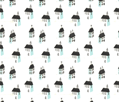 mini houses fabric by mummysam on Spoonflower - custom fabric
