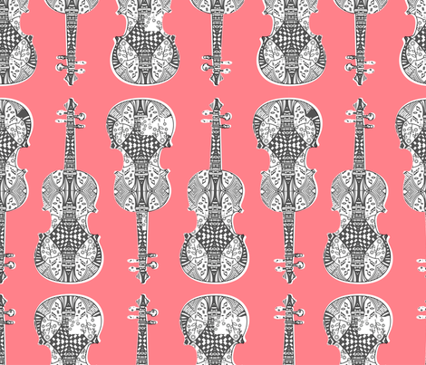 violin_print_gray_white_pink_bg fabric by gomingo on Spoonflower - custom fabric