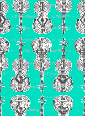 violin_print_gray_white_green_bg