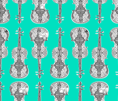 violin_print_gray_white_green_bg fabric by gomingo on Spoonflower - custom fabric