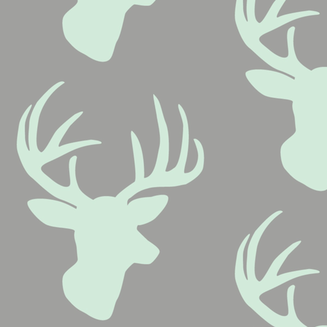 Mint deer on grey fabric by >>mintpeony<< on Spoonflower - custom fabric